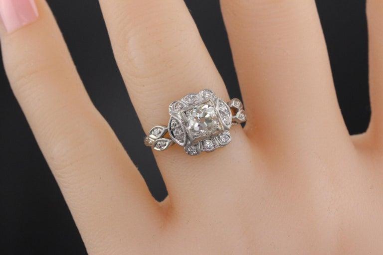 Antique Art Deco Platinum and Diamond Engagement Ring GIA For Sale 1