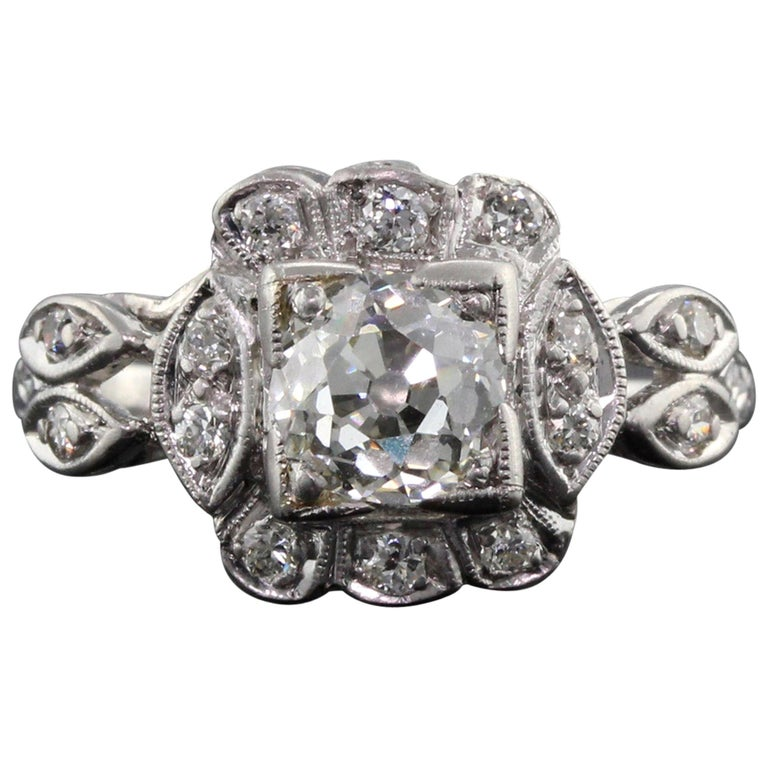Antique Art Deco Platinum and Diamond Engagement Ring GIA For Sale