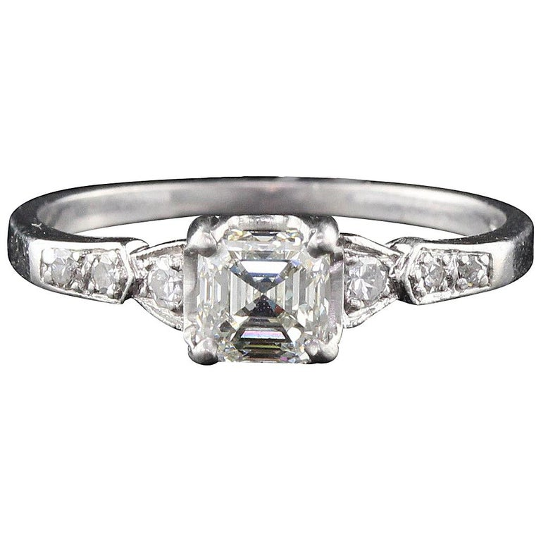 Antique Engagement Rings For Sale: Antique Art Deco Platinum Asscher Cut Diamond Engagement