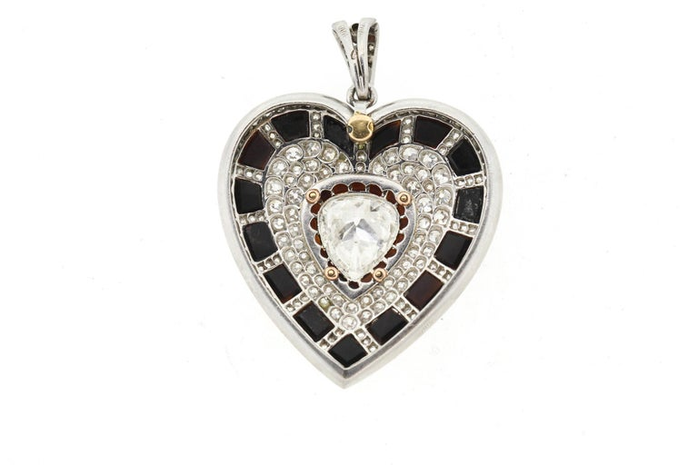Pear Cut Antique Art Deco Platinum Black Onyx Diamond Heart Pendant For Sale