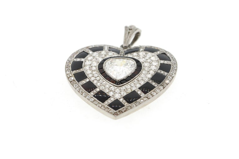 Antique Art Deco Platinum Black Onyx Diamond Heart Pendant For Sale 2