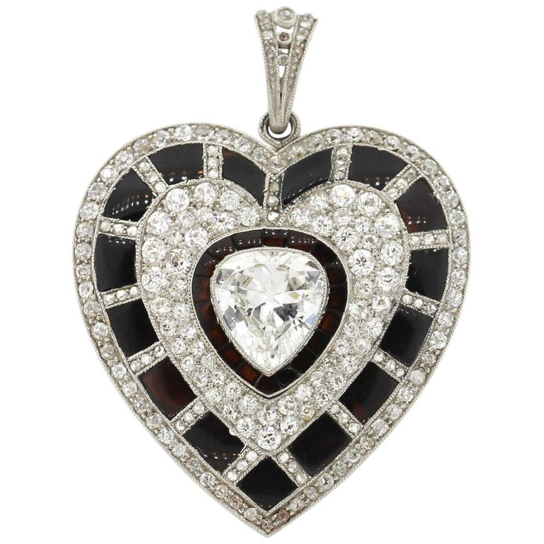 Antique Art Deco Platinum Black Onyx Diamond Heart Pendant For Sale