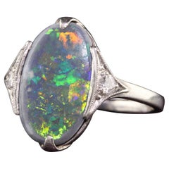 Antique Art Deco Platinum Black Opal and Diamond Statement Ring