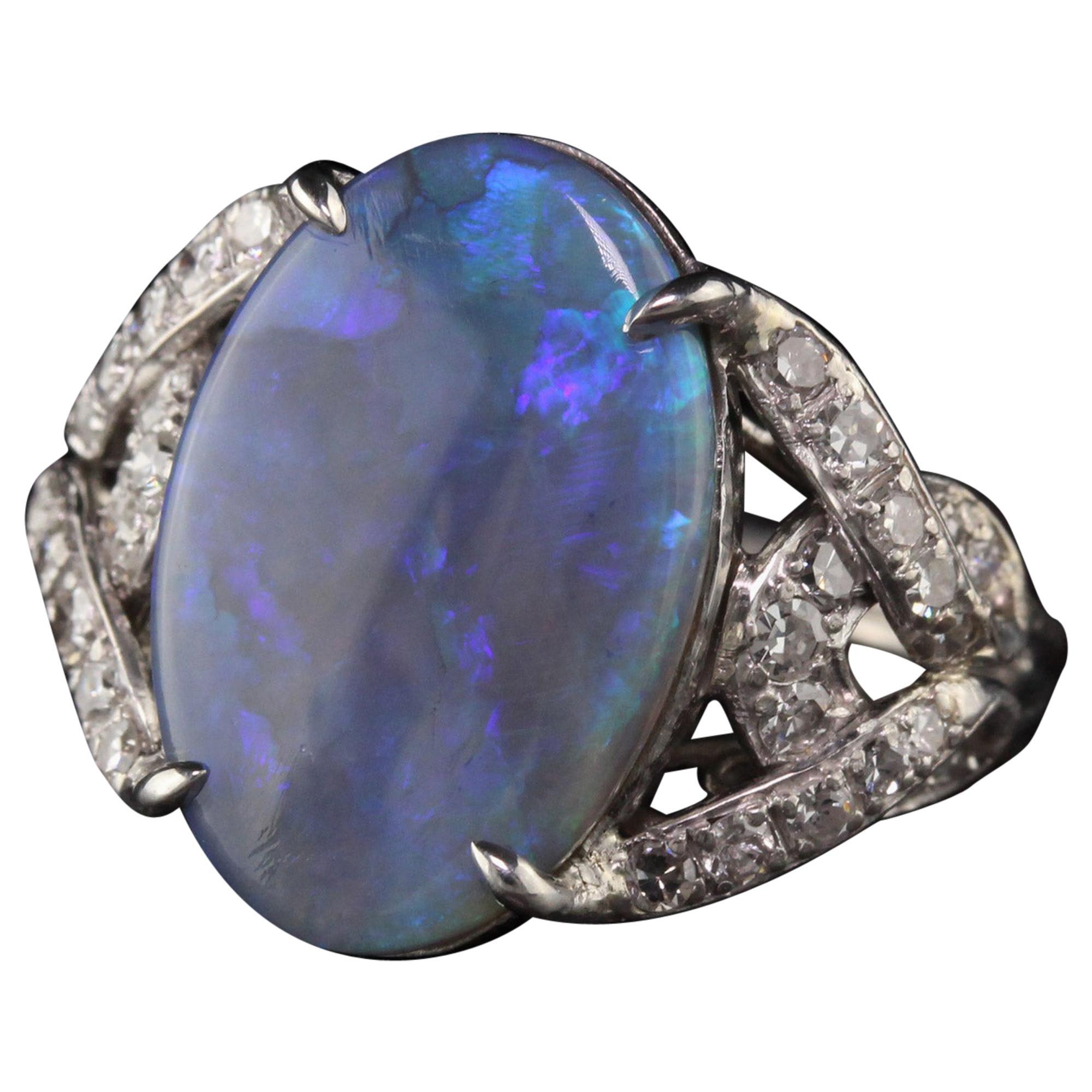 Antique Art Deco Platinum Black Opal Diamond Statement Ring