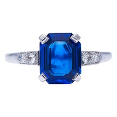 Antique, Art Deco, Platinum, Burmese Sapphire and Diamond Ring