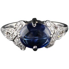 Antique Art Deco Platinum Cabochon Sapphire and Diamond Cocktail Ring