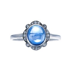 Antique, Art Deco, Platinum, Cabochon Sri Lankan Sapphire and Diamond Ring