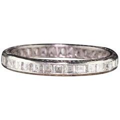 Antique Art Deco Platinum Carre Cut Diamonds Eternity Band