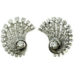 18kt Clip-On Earrings with Diamonds, 1950s