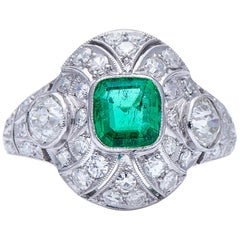Antique, Art Deco, Platinum, Colombian Emerald and Diamond Cluster Ring