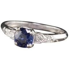 Antique Art Deco Platinum Diamond and Cushion Sapphire Engagement Ring