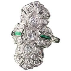 Antique Art Deco Platinum Diamond and Emerald Shield Ring