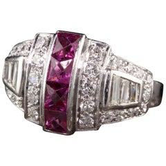Antique Art Deco Platinum Diamond and French Cut Ruby Ring
