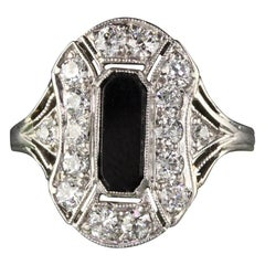 Antique Art Deco Platinum Diamond and Onyx Engagement Ring