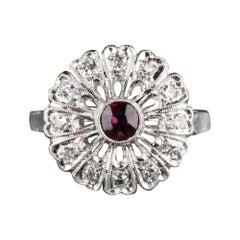 Antique Art Deco Platinum Diamond and Ruby Engagement Ring