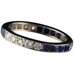 Antique Art Deco Platinum Diamond and Sapphire Band