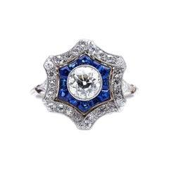 Antique, Art Deco, Platinum Diamond and Sapphire Cluster Ring