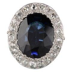 Antique Art Deco Platinum Diamond and Sapphire Cocktail Ring