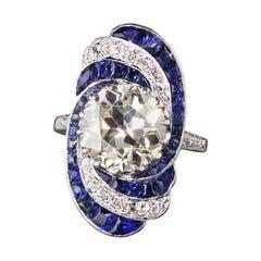 Antique Art Deco Platinum Diamond and Sapphire Engagement Ring
