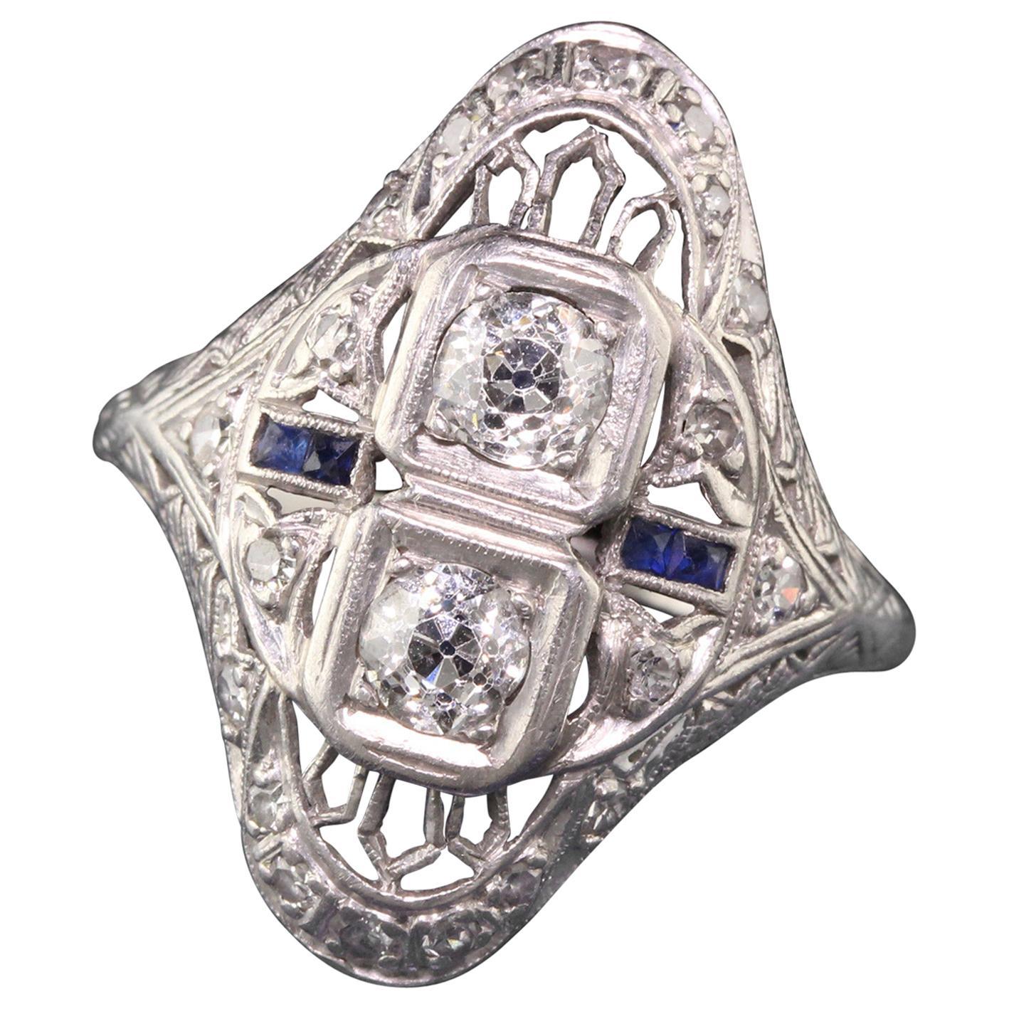 Antique Art Deco Platinum Diamond and Sapphire Filigree Shield Ring