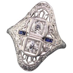 Antique Art Deco Platinum Diamond and Sapphire Filigree Shield Ring