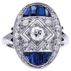 Antique Art Deco, Platinum, Diamond and Sapphire Ring