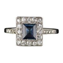 Antique Art Deco Platinum Diamond and Sapphire Ring