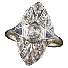 Antique Art Deco Platinum Diamond and Sapphire Shield Ring