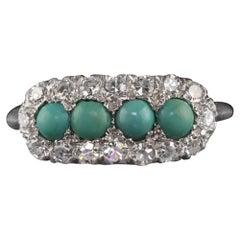 Antique Art Deco Platinum Diamond and Turquoise Ring