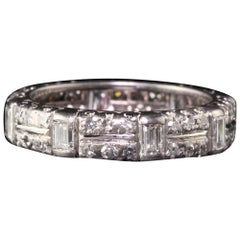 Vintage Retro Platinum Diamond Baguette Diamond Eternity Band - Size 8.25