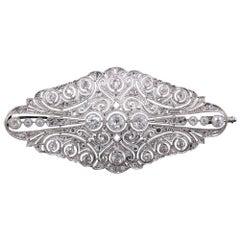 Antique Art Deco Platinum and Diamond Brooch
