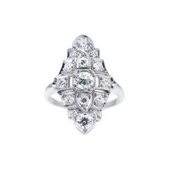 Antique, Art Deco, Platinum, Diamond Cluster Ring