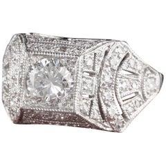 Antique Art Deco Platinum Diamond Egyptian Revival Engagement Ring