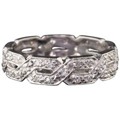 Antique Art Deco Platinum Diamond Endless Knot Eternity Band