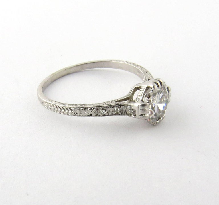 Antique Engagement Rings For Sale: Antique Art Deco Platinum Diamond Engagement Ring For Sale