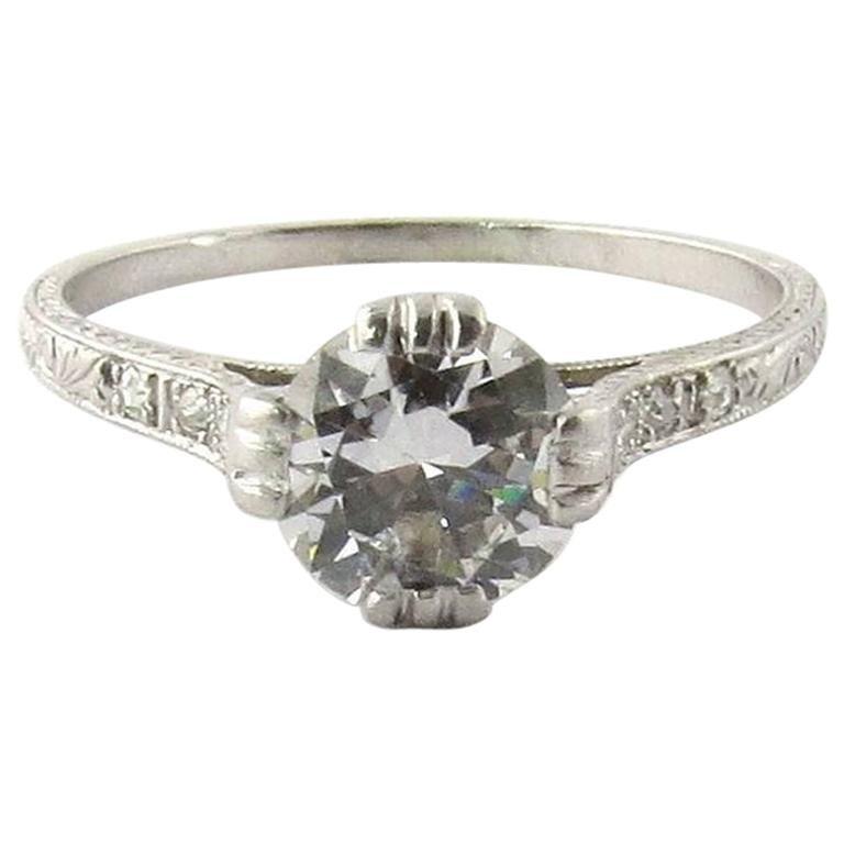 Platinum Engagement Rings Sale Uk: Antique Art Deco Platinum Diamond Engagement Ring For Sale