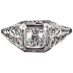 Antique Art Deco Platinum Diamond Engagement Ring