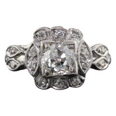 Antique Art Deco Platinum and Diamond Engagement Ring GIA