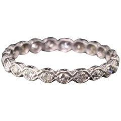 Antique Art Deco Platinum Diamond Engraved Eternity Band