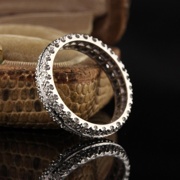 Gorgeous Art Deco platinum diamond eternity band.  Item #R0473  Metal: Platinum  Weight: 5.4 Grams  Diamond Color: H  Diamond Clarity: SI2  Total Diamond Weight: Approximately 0.50 cts  Ring Size: 7  *Unfortunately this ring cannot be