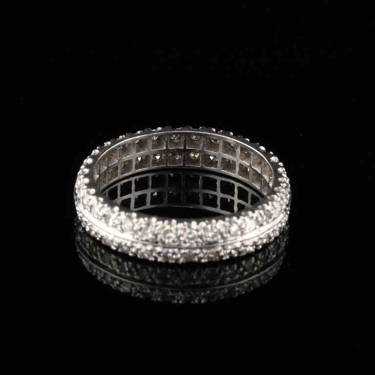 Antique Art Deco Platinum Diamond Eternity Band In Good Condition For Sale In Great Neck, NY