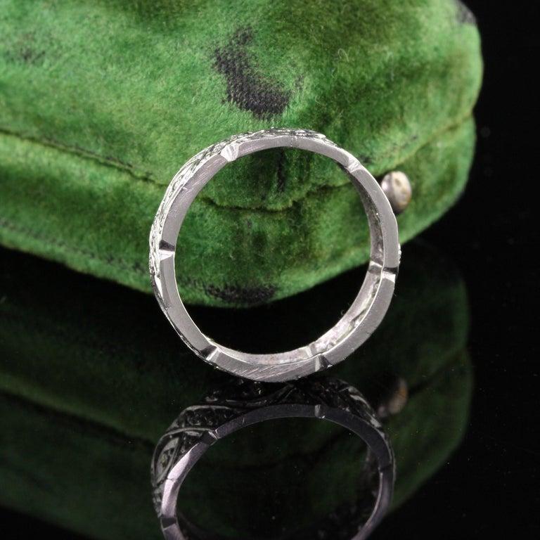 Round Cut Antique Art Deco Platinum Diamond Filigree Wedding Band For Sale