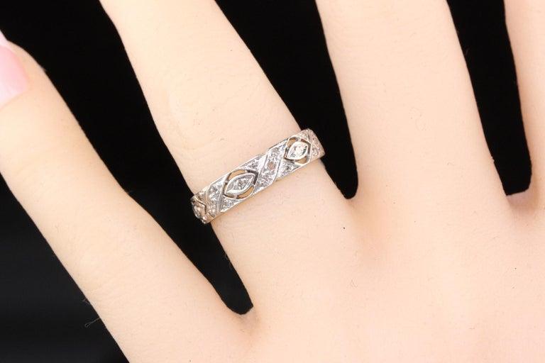 Women's Antique Art Deco Platinum Diamond Filigree Wedding Band For Sale