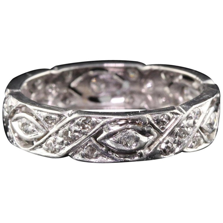 Antique Art Deco Platinum Diamond Filigree Wedding Band For Sale
