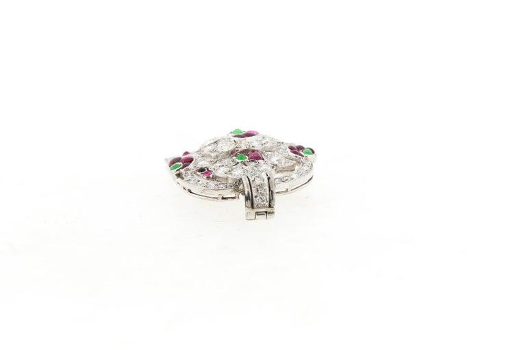 Women's or Men's Antique Art Deco Platinum Diamond Gem Set Jardinière Pendant For Sale