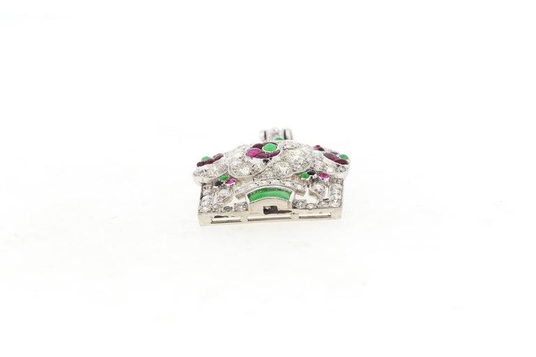 Antique Art Deco Platinum Diamond Gem Set Jardinière Pendant For Sale 2