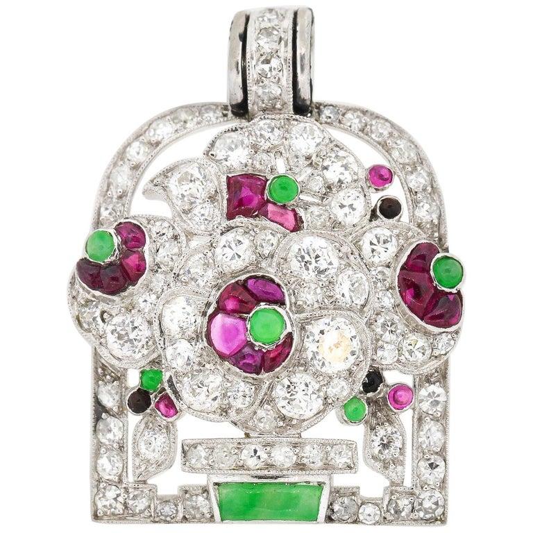 Antique Art Deco Platinum Diamond Gem Set Jardinière Pendant For Sale