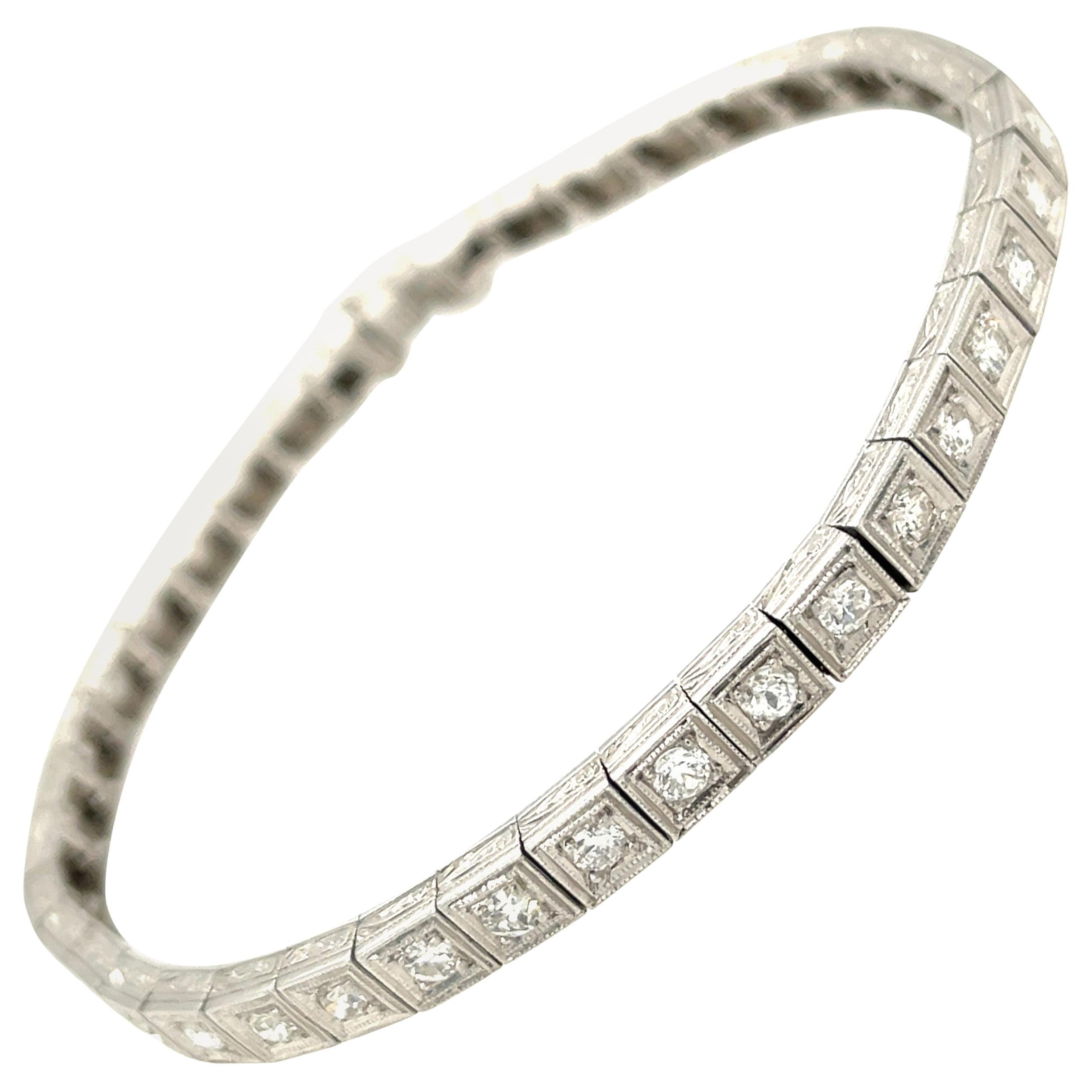 Antique Art Deco Platinum Diamond Line Bracelet