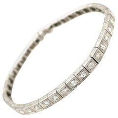Antique Art Deco Platinum Diamond Line Bracelet