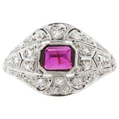Antique Art Deco Platinum Diamond Ruby Ring